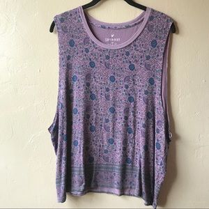 Soft & Sexy Floral Muscle Tee Purple